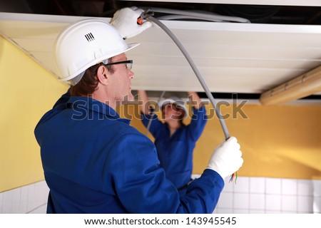 Rzemieślnik pracy elektryczne instalacja okulary przemysłu Zdjęcia stock © photography33