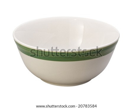 Bowl with A Green Stripe isolated on white with a clipping path Stock photo © danny_smythe