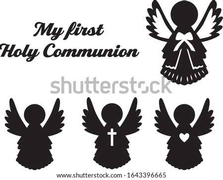 first holy communion angel and children invitation card vertically stock photo © marimorena