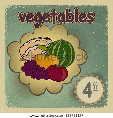 vintage · cartão · postal · quadro · maduro · legumes · maçã - foto stock © Larser