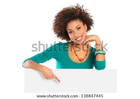 Portré csinos fiatal nő mutat tábla fehér Stock fotó © williv