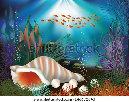 underwater world banner with seashell and pearls vector illustration stock photo © carodi