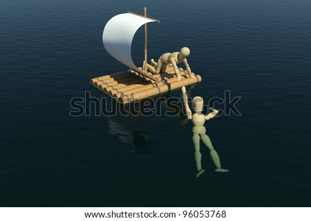 The wooden man on a raft pulled a drowning man's hand. 3D rendering Stock photo © cherezoff