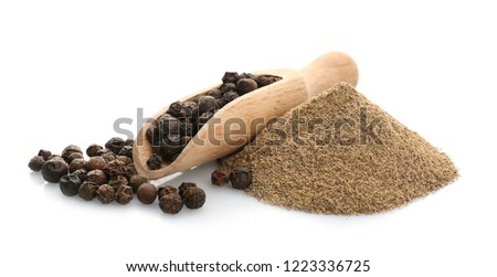 Pepper powder herbal spice condiment ingredients at food market Stock photo © ia_64