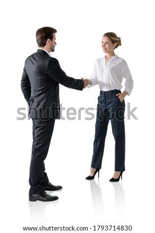 Business man and woman give salute isolated on white background. Stock photo © Istanbul2009
