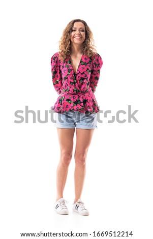 Belle jeunes brunette short jeans shirt Photo stock © Nejron