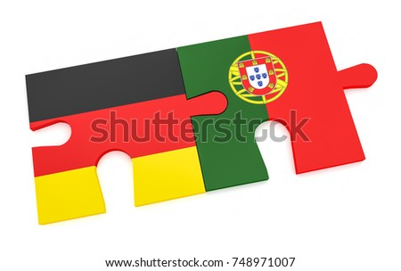 German and Portuguese Flags in puzzle isolated on white backgrou Stock photo © Istanbul2009