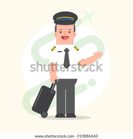 Flight crew. Cheerful pilot and stewardess with trolley, isolate Stock photo © leonido