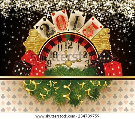 happy 2015 new year card with casino poker chip vector illustration stock photo © carodi