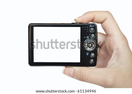 hand · lcd · scherm · digitale · camera · geïsoleerd - stockfoto © aza