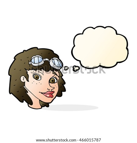 cartoon happy woman wearing aviator goggles with thought bubble Stock photo © lineartestpilot