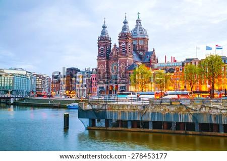 Bazylika święty Amsterdam noc ulicy kościoła Zdjęcia stock © AndreyKr
