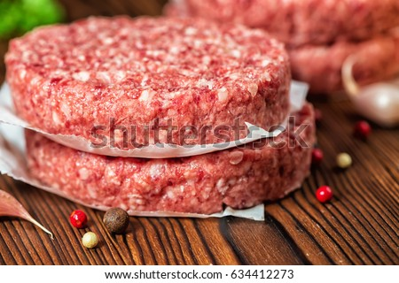 Fresh hamburger with a chop of marbled beef and fresh vegetables and  tasty hot dog with fried onion Stock photo © mcherevan