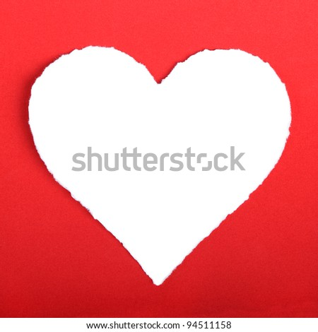 white torn paper in heart shape symbol over red background for m stock photo © tetkoren