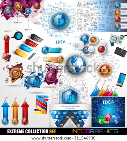 infographic mega collection glossy button icons with flat style stock photo © davidarts
