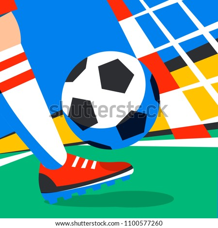 Bright soccer background with ball. Russian colors football field Stock photo © saicle