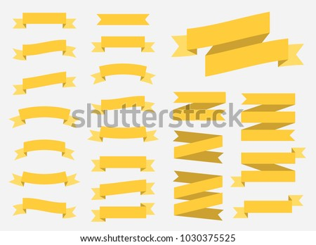 vector yellow ribbons set elements isolated on white background stock photo © rommeo79