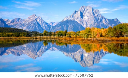 View of the Grand Teton Mountains from Oxbow Bend on the Snake R Stock photo © CaptureLight