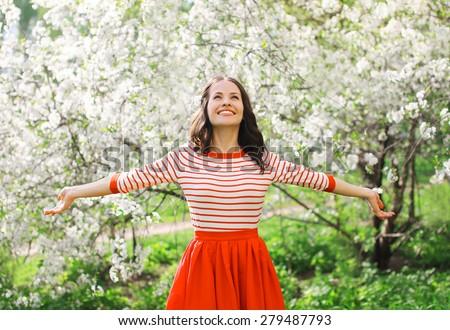 Tendre jeune femme printemps jardin floraison arbres Photo stock © deandrobot