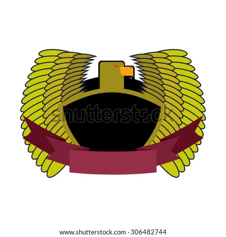 Green Eagle. Military logo with shield and tape. Heraldry vector Stock photo © popaukropa
