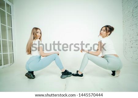 Lány tánc stúdió ül padló fehér Stock fotó © Nobilior