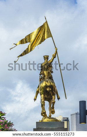 joan of arc maid of orleans statue in the french market of new o stock photo © meinzahn