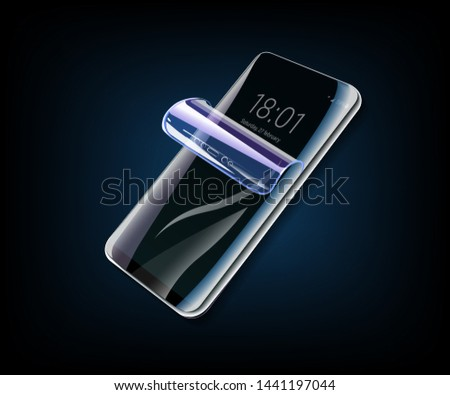 Illustration of Phone protection film on screen and cover. Smartphone display with protector glass. Stock photo © tussik