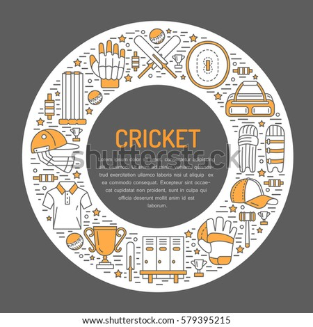 Cricket banner with line icons of ball, bat, field, wicket, helmet, apparel and other equipment. Vec stock photo © Nadiinko