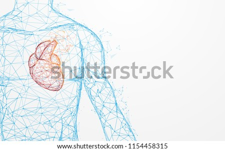 Blue heart shape, abstract anatomy illustration. Heart mechanism Stock photo © Tefi