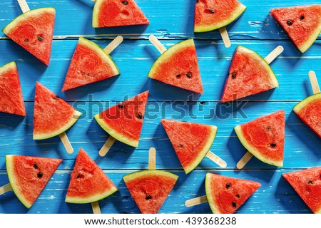 Fresh watermelon popsicle yummy fresh summer fruit sweet dessert Stock photo © Yatsenko