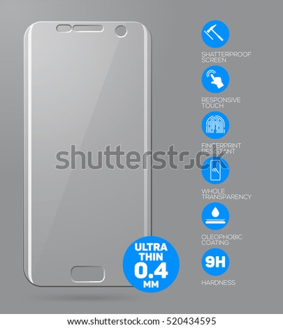 Screen protector film or glass cover isolated on grey background. Mobile accessory. 3d illustration Stock photo © tussik