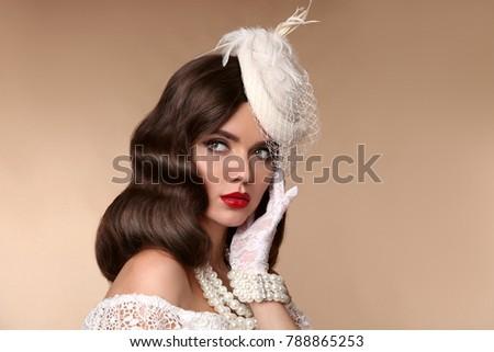 Fashion Retro Elegant Bride Brunette Model Portrait. Pearls Jewe Stock photo © Victoria_Andreas