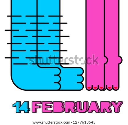 14 February. Male and female legs. Kiss of lovers. Greeting card Stock photo © popaukropa