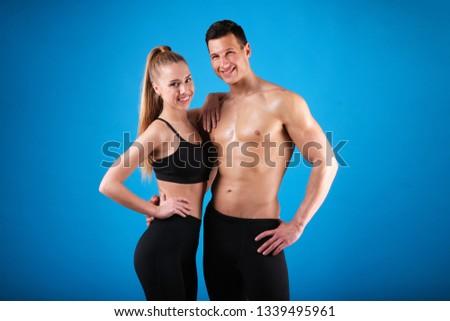 Dopasować młody człowiek piękna tułowia liny niebieski Zdjęcia stock © master1305