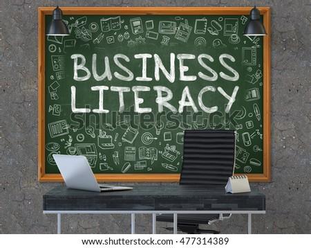 business literacy concept doodle icons on chalkboard 3d illustration stock photo © tashatuvango