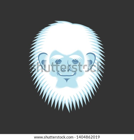 Yeti sleeping emoji. Bigfoot asleep emotion face. Abominable sno Stock photo © popaukropa