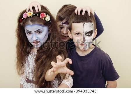 zombie apocalypse kids concept birthday party celebration facep stock photo © iordani