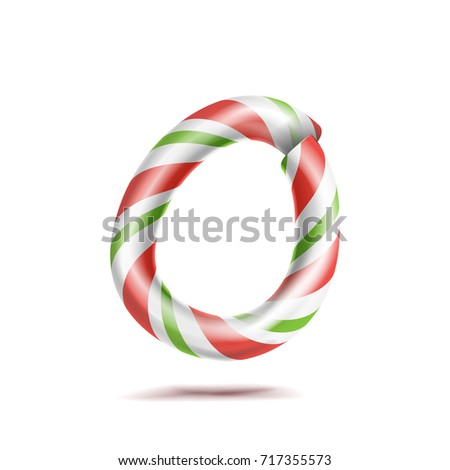 Letter O Vector. 3D Realistic Candy Cane Alphabet Symbol In Christmas Colours. New Year Letter Textu Stock photo © pikepicture