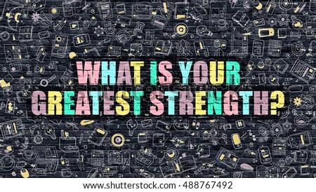 What is Your Greatest Strength Concept. Multicolor on Dark Bric Stock photo © tashatuvango