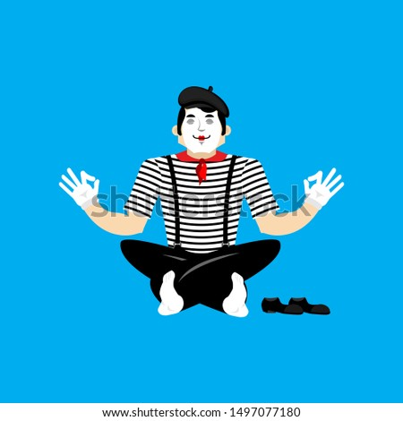 Mime yoga. yogi pantomime. Mimic relaxation and meditation. Vect Stock photo © popaukropa