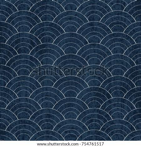 Sashiko seamless indigo dye pattern with traditional white Japan Stock photo © BlueLela