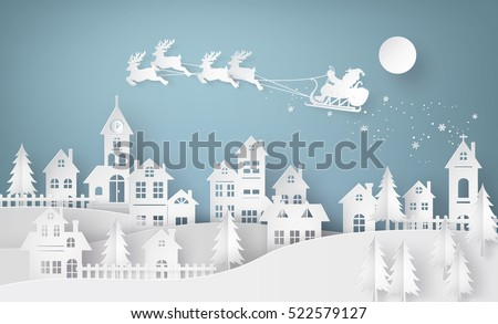 Merry Christmas Illustration with Flying Santa in the Moon on Blue Night Sky Background. Vector Desi Stock photo © articular