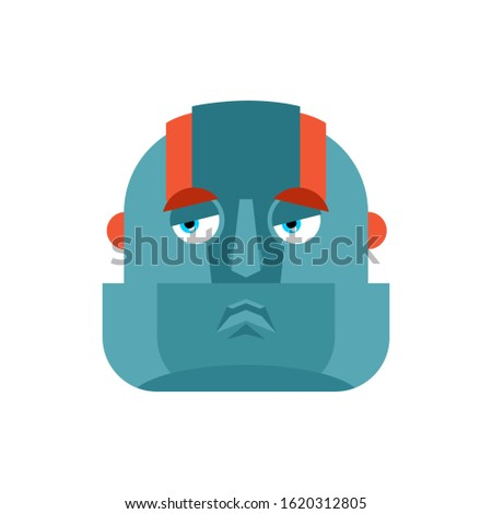 Robot sad emoji. Cyborg sorrowful emotions. Robotic man dull. Ve Stock photo © popaukropa