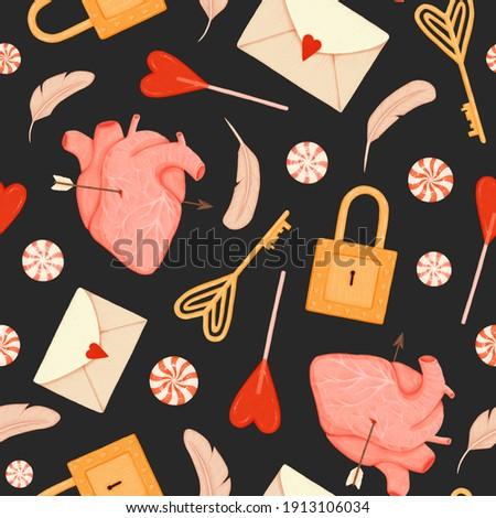 Serca arrow symbol miłości anatomiczny walentynki Zdjęcia stock © popaukropa