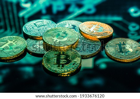 Ethereum cryptocurrency of icon with a reflection of the sky on a blurred ultraviolet background of  Stock photo © artjazz