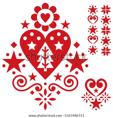 Folk heart design greeting card, Scandinavian floral vector pattern in navy blue and white Stock photo © RedKoala