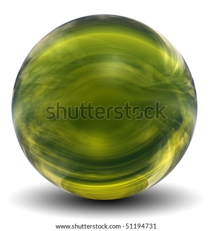 realistic glass sphere with shadows reflection of sky in mirror surface of dark green pearl stock photo © sidmay