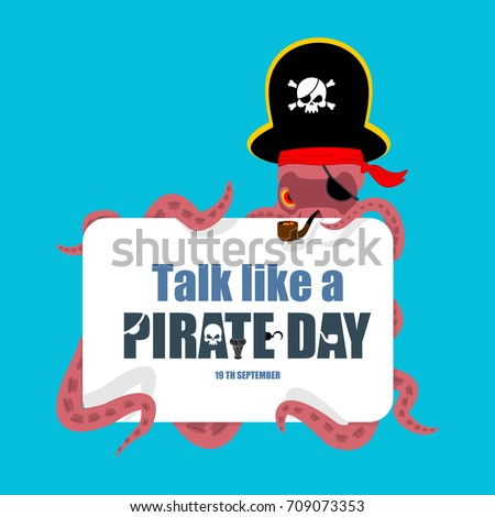 Octopus pirate. poulpe buccaneer. Eye patch and smoking pipe. pi Stock photo © popaukropa
