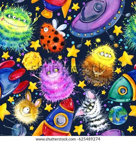 UFO végtelen minta szín űr repülés csészealj Stock fotó © popaukropa