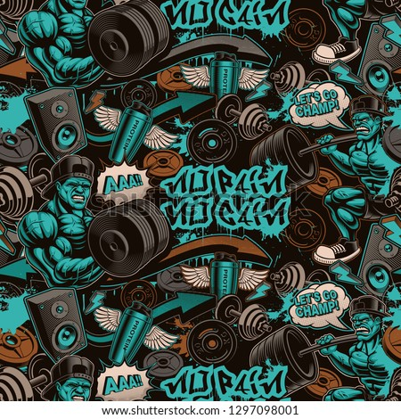 barbell powerlifting seamless pattern vector background power o ストックフォト © popaukropa